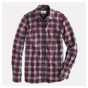 J. Crew Gray Tartan Flannel Boy Shirt